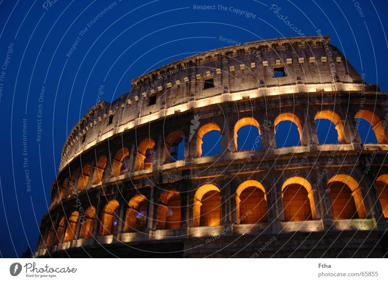 Italy shines Rome Manmade structures Attraction Ruin Ancient Lighting Tourism Landmark Monument colloseum Arch Blue Stone Römerberg