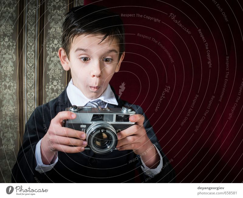 Boy with vintage camera Child Old White Boy (child) Small Happy Lifestyle Infancy Photography Cute Retro Illustration Camera Nostalgia Photographer Lens