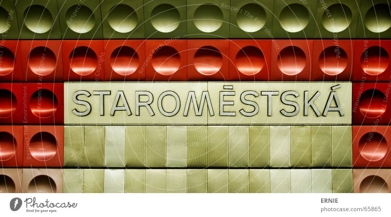 Staro Prague Subsoil London Underground Red Typography Art Dark Curved Railroad Characters Tile something Wait Architecture