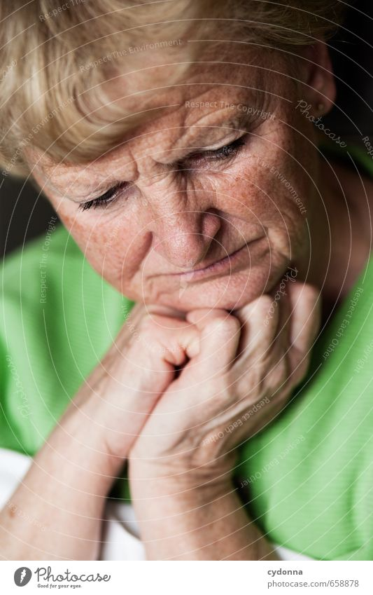 Human being Woman Hand Calm Face Adults Life Sadness Emotions Senior citizen Healthy Think Time Health care 45 - 60 years Future