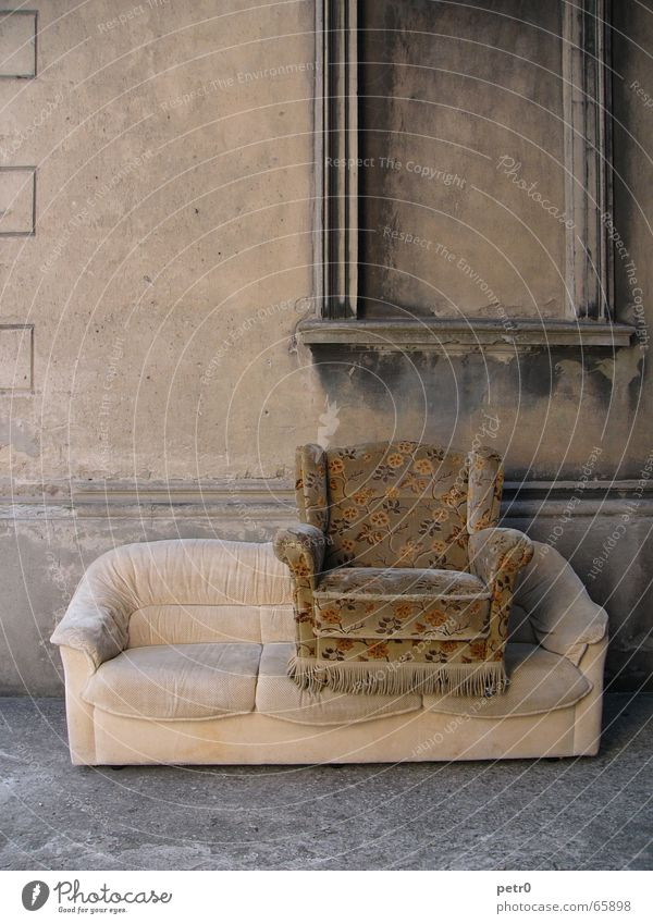 Two seater Wall (building) House (Residential Structure) Derelict Armchair Sofa Pattern Flower Flowery pattern Worn out Ruin Window Plaster Dirty Shabby