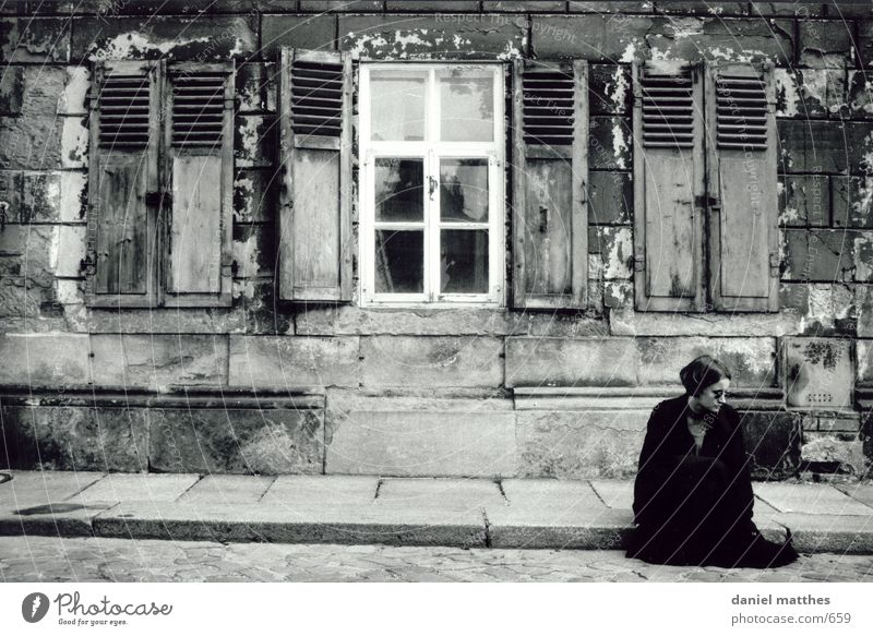 m House (Residential Structure) Ruin Old building Decline Woman Human being Black & white photo