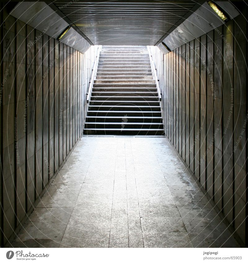 City Dark Gray Bright Stairs Long Tunnel Shaft Underpass