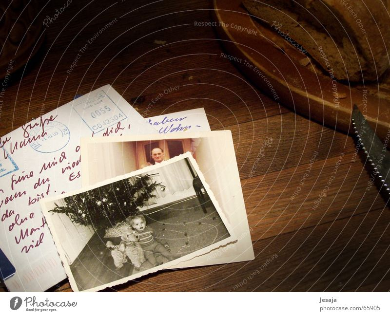 retrospect Nutrition Table Child Wood Old Dream Nostalgia Past Photography Memory Letter (Mail) Handwriting old photo Card Black & white photo Studio shot