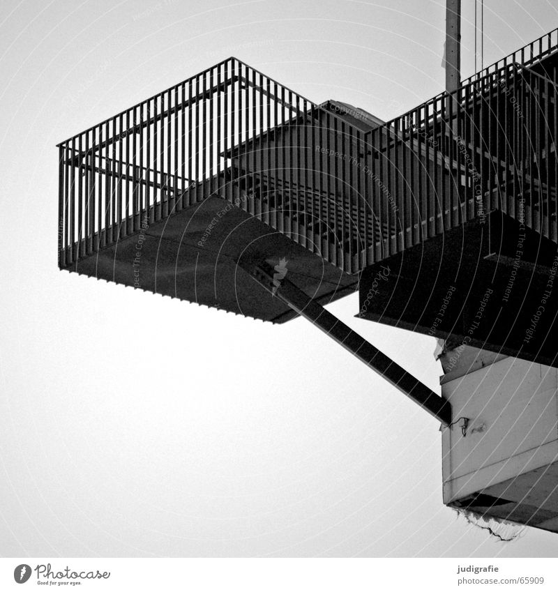 High Top Downward Construction House (Residential Structure) Building Vantage point Black White Detail Black & white photo Stairs Handrail Above Tall Upward Sky