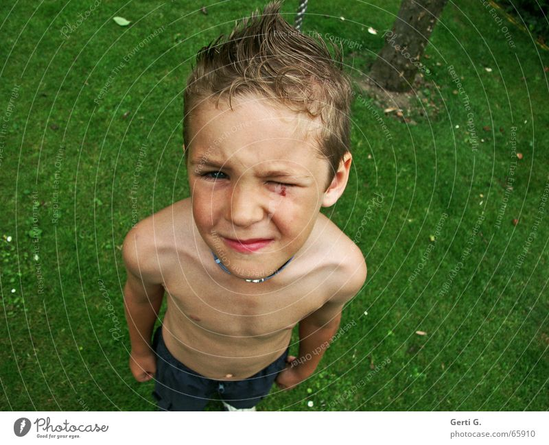 Human being Child Nature Green Eyes Meadow Boy (child) Hair and hairstyles Body Lawn Anger Pain Tree trunk Shoulder Fist