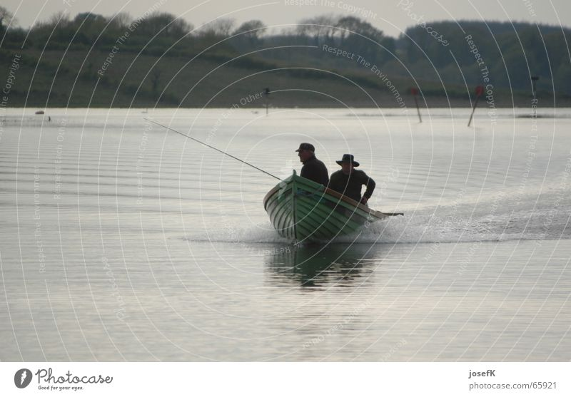 Fishing boat on the Shannon River in Ireland Motorboat Fisherman Angler Lake Water