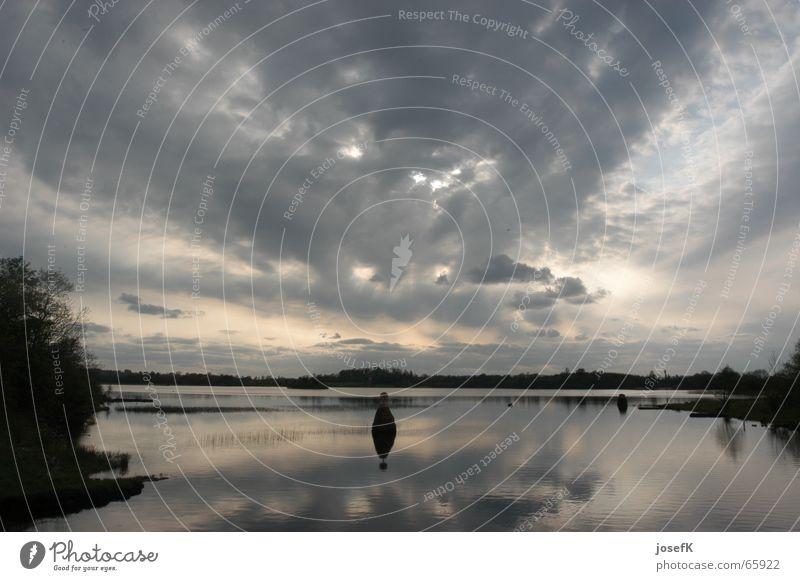 Water Sky Clouds Lake River Dusk Ireland Raincloud Shannon