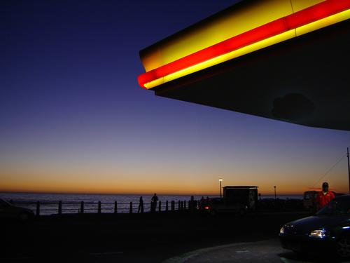 gas station with sea view Petrol station Cape Town Sunset Horizon Red Yellow Kitsch Ocean Sky