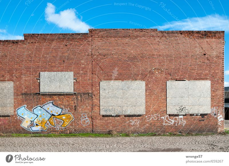 Text space | Three and a half Magdeburg Germany Europe Town Outskirts Deserted House (Residential Structure) Industrial plant Manmade structures Warehouse