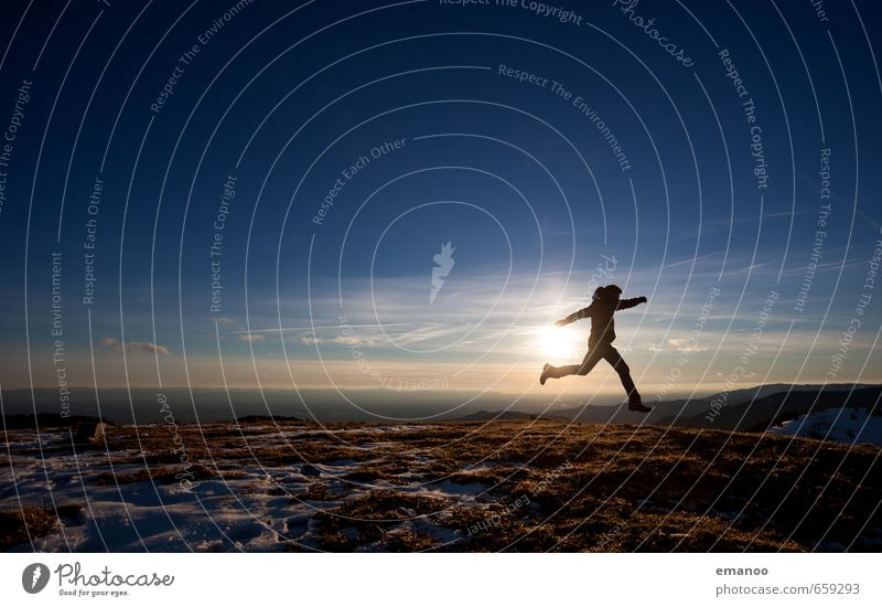 Human being Sky Nature Vacation & Travel Man Landscape Joy Far-off places Winter Adults Mountain Style Freedom Jump Horizon Ice