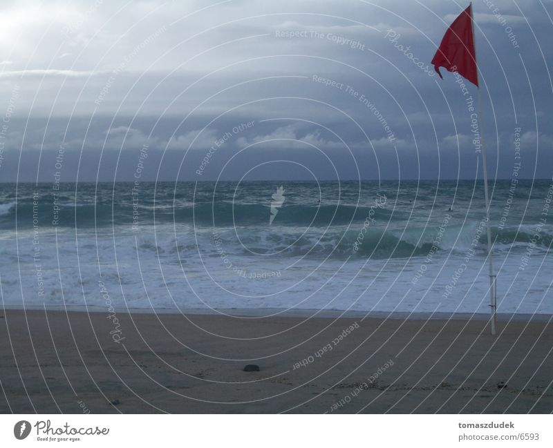 Dangerous surf Surf Beach Ocean Waves Sports Red Flag Water Sand