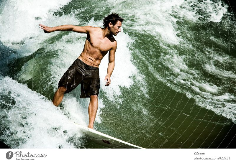 Citysurfer III Surfer Aquatics Surfing Waves Style Munich Contentment Wet Sports Green Man Easygoing Posture Human being Funsport Water Inject Drops of water