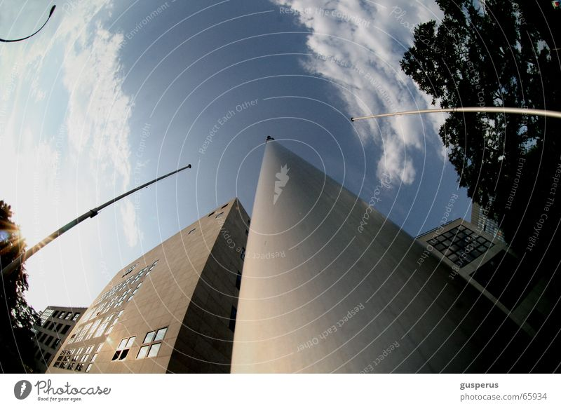 { masticentric world system } Clouds On the head Building House (Residential Structure) Tree Fisheye Lantern Sky Electricity pylon without flag Blue