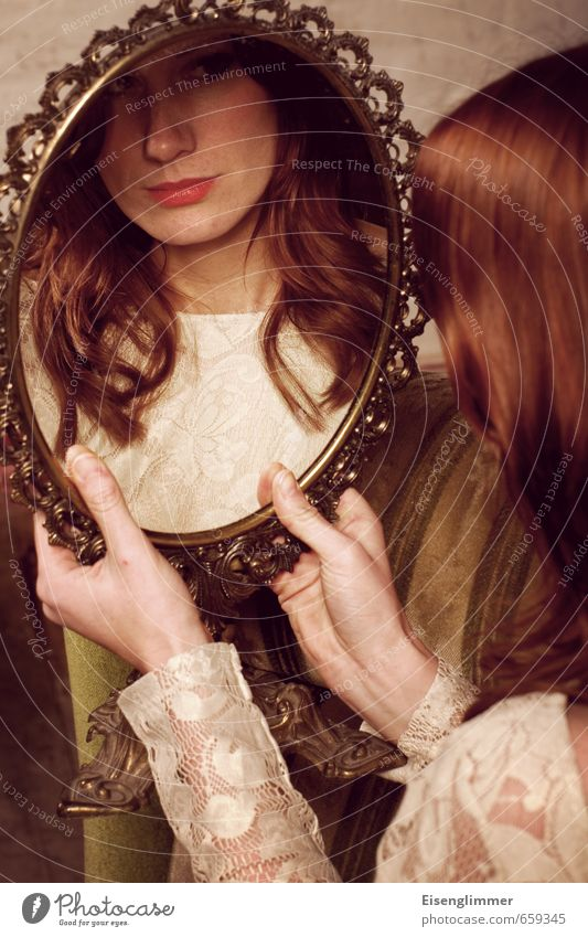 Human being Youth (Young adults) Hand Young woman 18 - 30 years Face Adults Feminine Perspective Mirror Pride Red-haired Mirror image Conceited