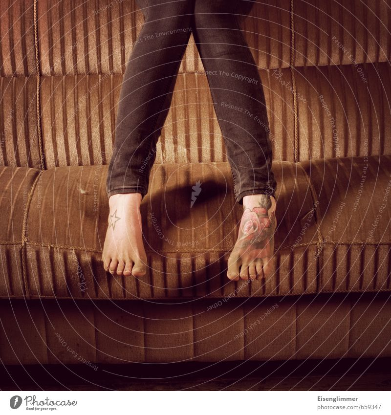 STUDIO TOUR   Feet Legs 18 - 30 years Youth (Young adults) Adults Dirty Hip & trendy Retro Brown Toes Tattoo Sofa Dust Dusty Jeans Colour photo Interior shot