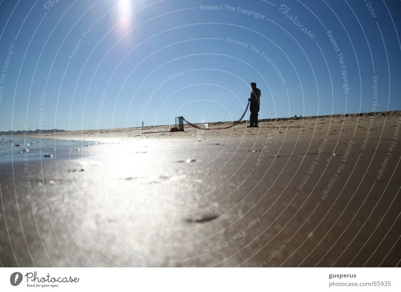 Water Vacation & Travel Ocean Summer Beach Calm Sand Waves Net Tracks Catch Refreshment Fishing (Angle) Surf Fisherman High tide