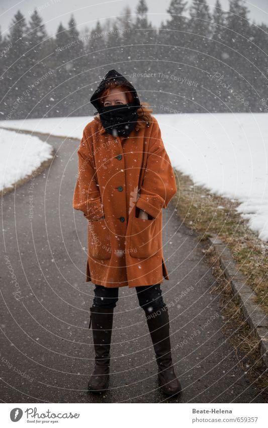 Human being Woman Vacation & Travel White Relaxation Winter Black Adults Mountain Snow Feminine Lanes & trails Snowfall Orange Walking Hiking