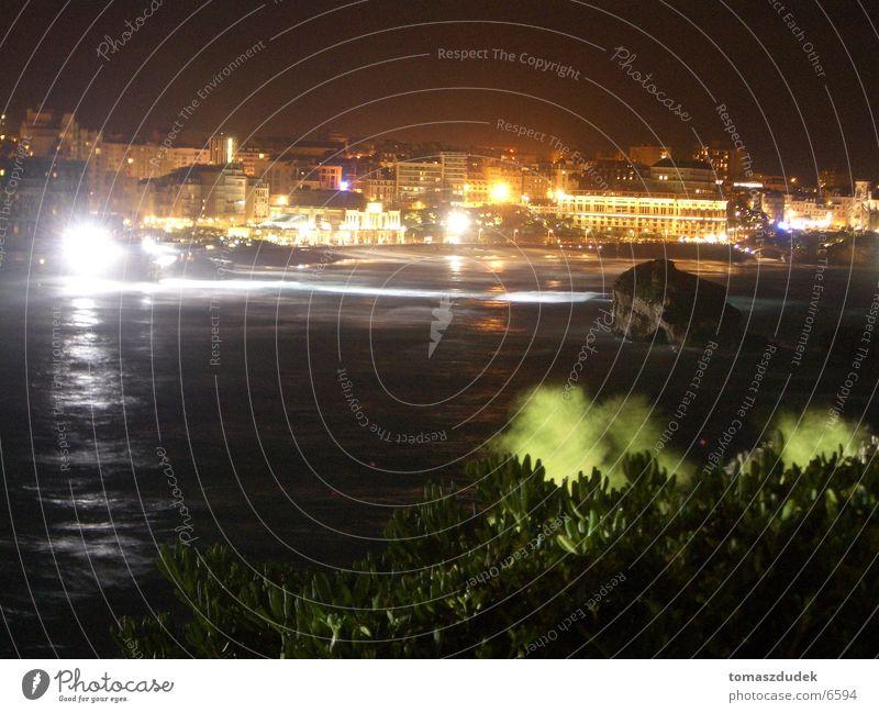 Biarritz at night Night Ocean Town France Europe Light