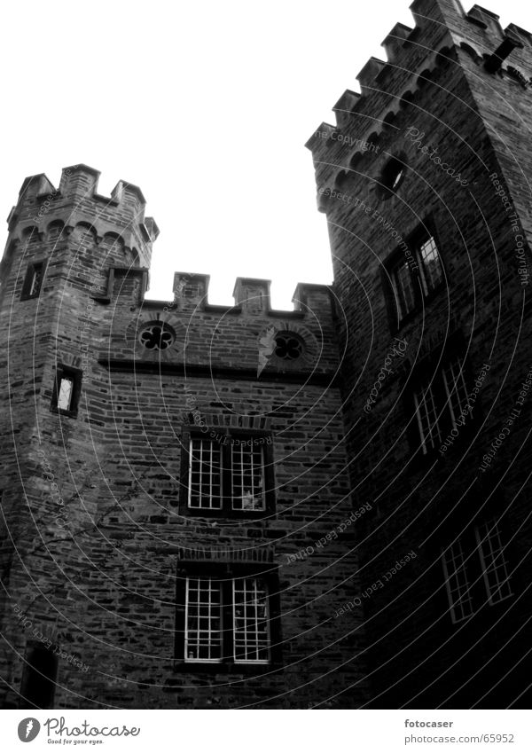 old castle in Stolzenfels Masonry Wall (barrier) Merlon Worm's-eye view old house Black & white photo Tower Architecture Castle