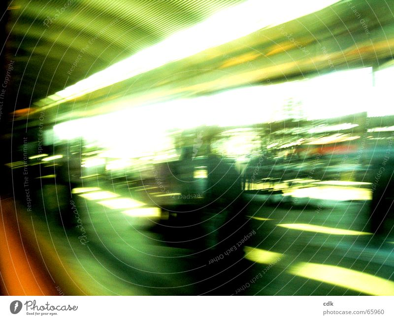 on the way l Vacation & Travel Depart Come Collect Arrival Platform Station Journey through Light Blur Motion blur Speed Haste Stress Railroad Transport