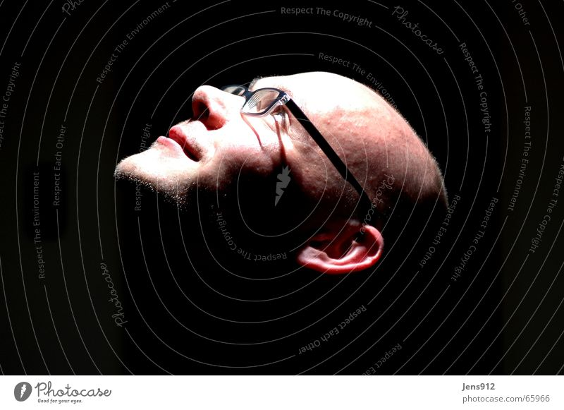 me Self portrait Portrait photograph Bald or shaved head Forehead Eyeglasses Stage lighting Dark Black Head horn-rimmed glasses Bright Shadow Contrast