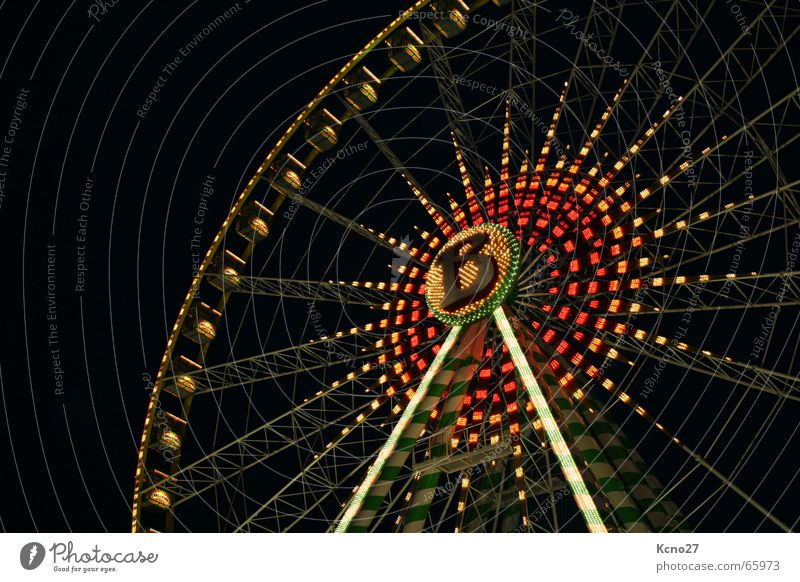 high up Ferris wheel Fairs & Carnivals Round Night Joy Light Level