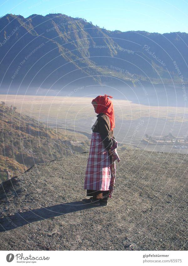 Woman Water Mountain Desert Thirst Volcano Indonesia Java