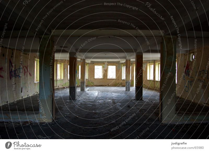 House (Residential Structure) Wall (building) Window Building Graffiti Room Places Hotel Decline Ruin Column Plaster Dismantling Symmetry Harz Carrier
