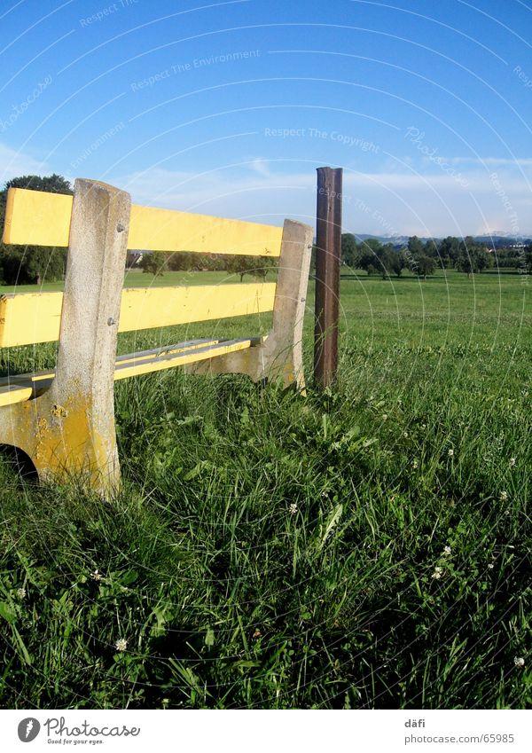 Sky Green Blue Yellow Relaxation Meadow Grass Field Sit Break Bench Switzerland Pole Stay Crouch