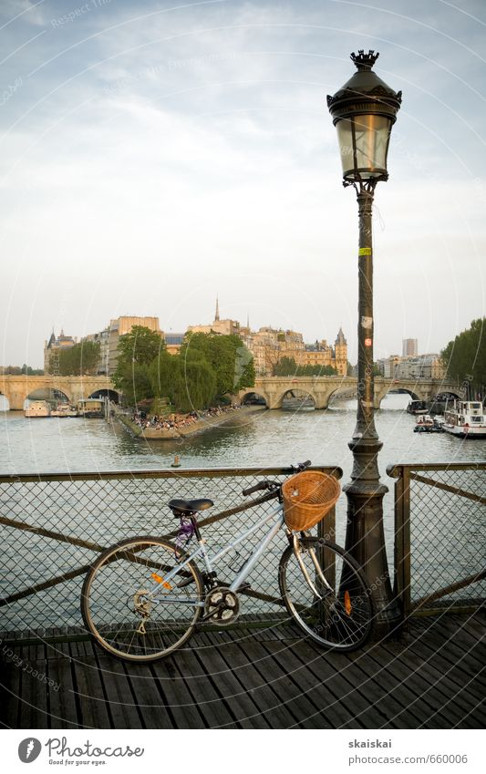 Paris Vacation & Travel Blue City Beautiful Water Joy Far-off places Architecture Wood Brown Leisure and hobbies Elegant Idyll Bicycle Esthetic To enjoy