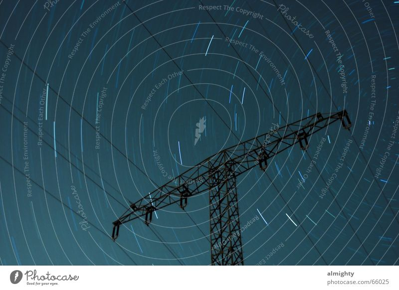 sidereal hour Night Electricity pylon Constant light Astronomy star trails Energy industry Starry sky Stars