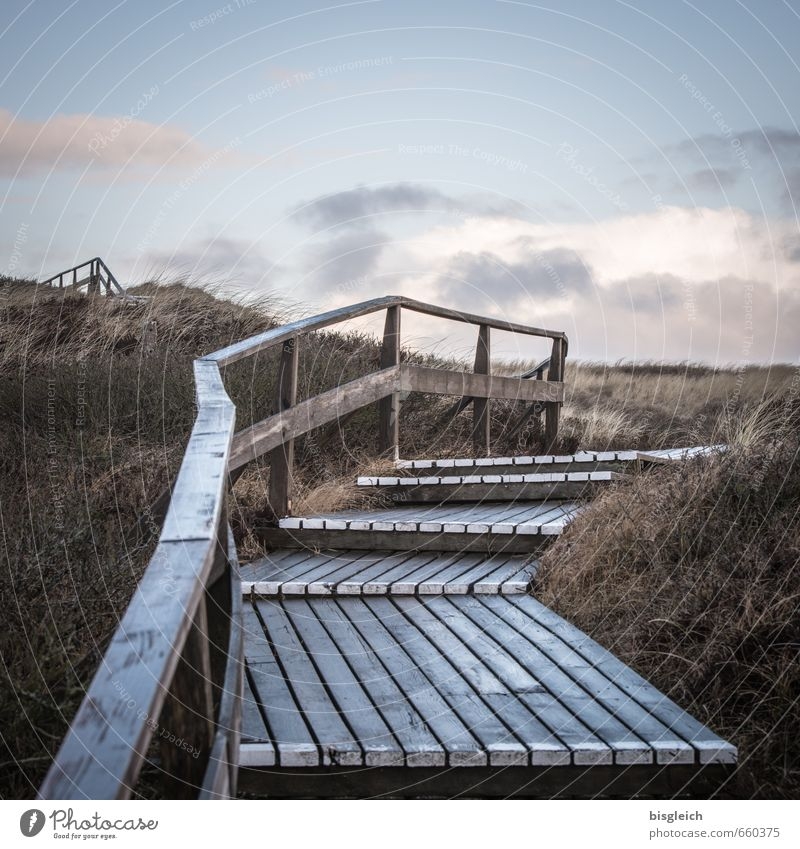 Sylt XV Vacation & Travel Beach Ocean Island Environment Nature Landscape Sky Grass North Sea Germany Europe Stairs Banister Wood Blue Brown Gray Far-off places