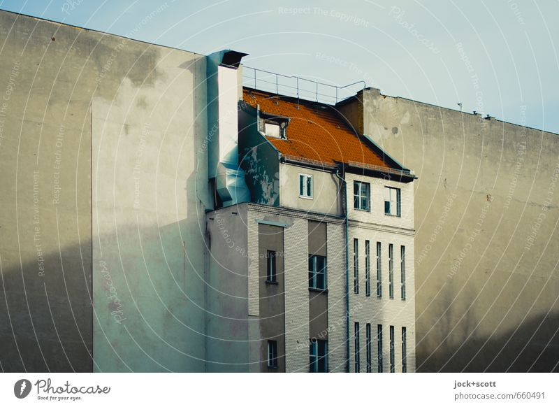 central position Town house (City: Block of flats) Facade Chimney Fire wall Backyard Historic Nostalgia Change Shadow play Diagonal Silhouette