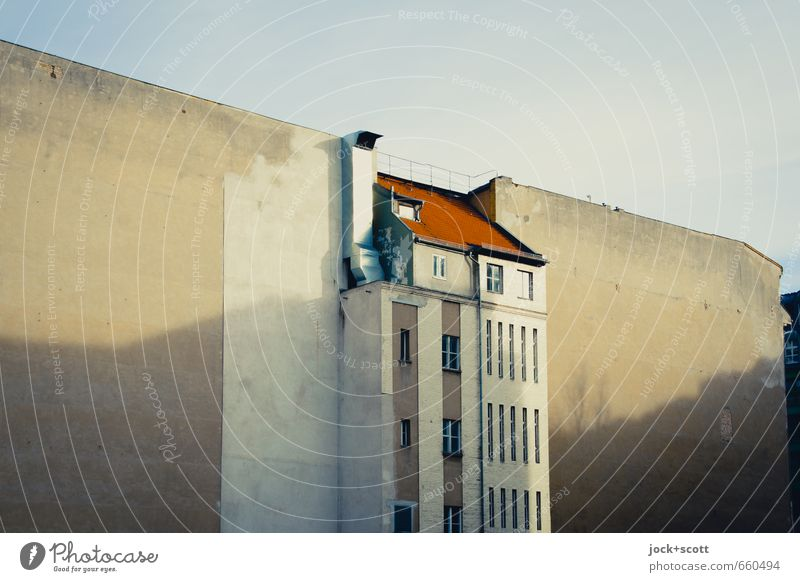 centrally located without P Sky Downtown Berlin Facade Fire wall Ventilation shaft Backyard Old Historic Symmetry Change Shadow play Diagonal Gap