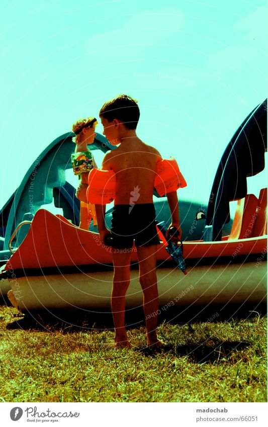 Sky Sun Green Blue Red Summer Joy Colour Boy (child) Meadow Friendship Infancy Plastic Water wings Dolphin