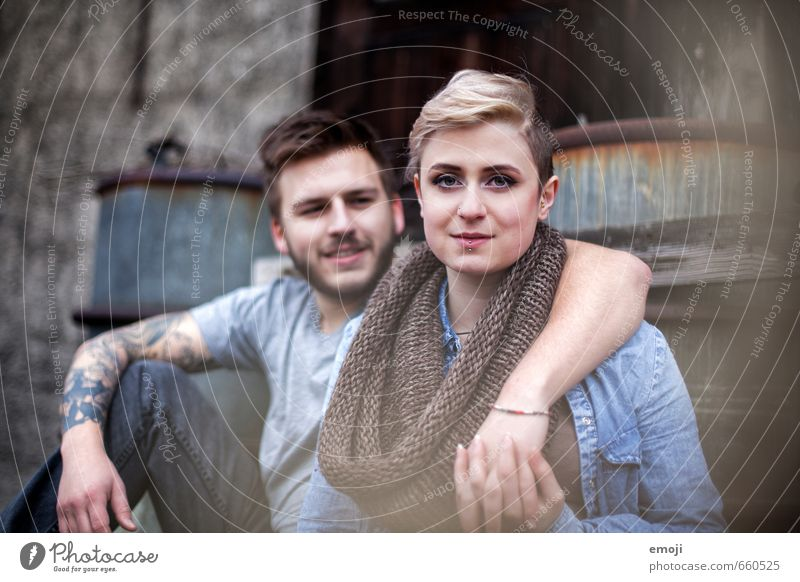 young modern couple Masculine Feminine Young woman Youth (Young adults) Young man Couple 2 Human being 18 - 30 years Adults Hip & trendy Embrace Colour photo