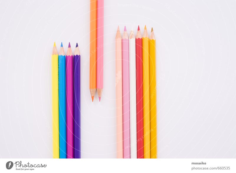 pencils Child Blue Red Yellow To talk Playing Pink School Office Design Simple Academic studies Study Education Painting and drawing (object) Team