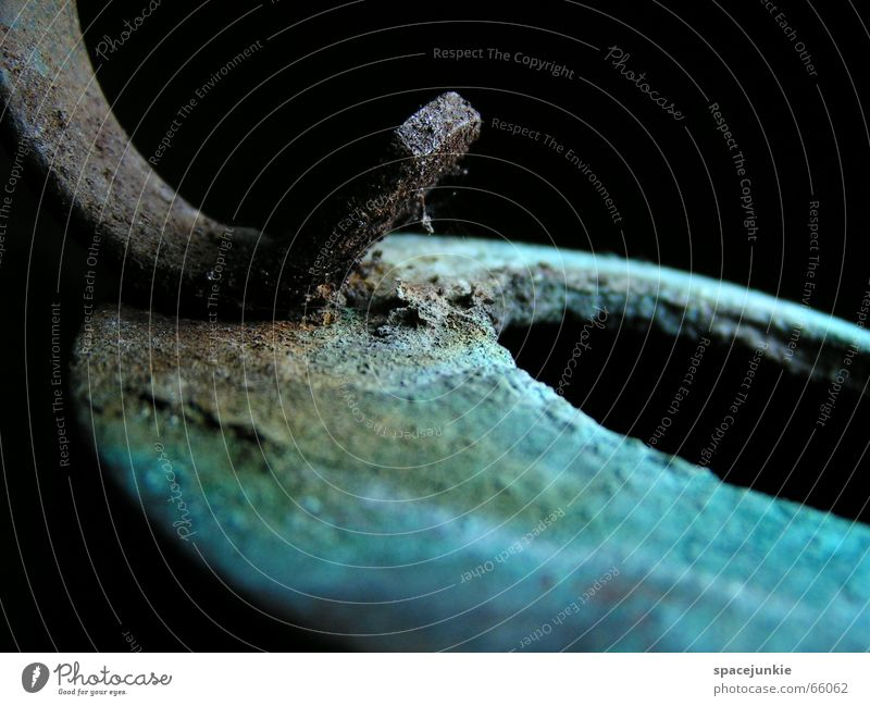 """The element """"copper"""" Watering can Transience Green Black Macro (Extreme close-up) Copper Part accrual system cu Detail copper pouring can Blue"""