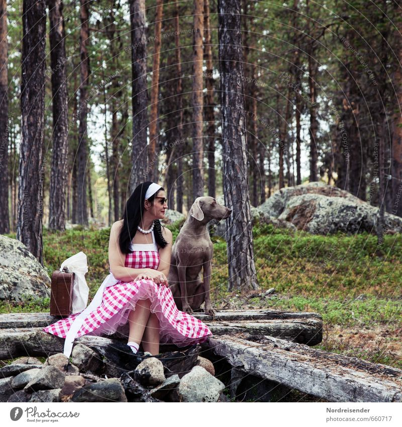 Have you seen them? Lifestyle Elegant Style Joy Happy Relaxation Vacation & Travel Human being Feminine Woman Adults 1 Forest Fashion Clothing Dress Suitcase