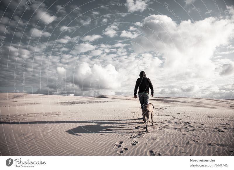Human being Sky Dog Man Landscape Clouds Animal Adults Lanes & trails Lifestyle Sand Success Walking Adventure Cool (slang) Hope