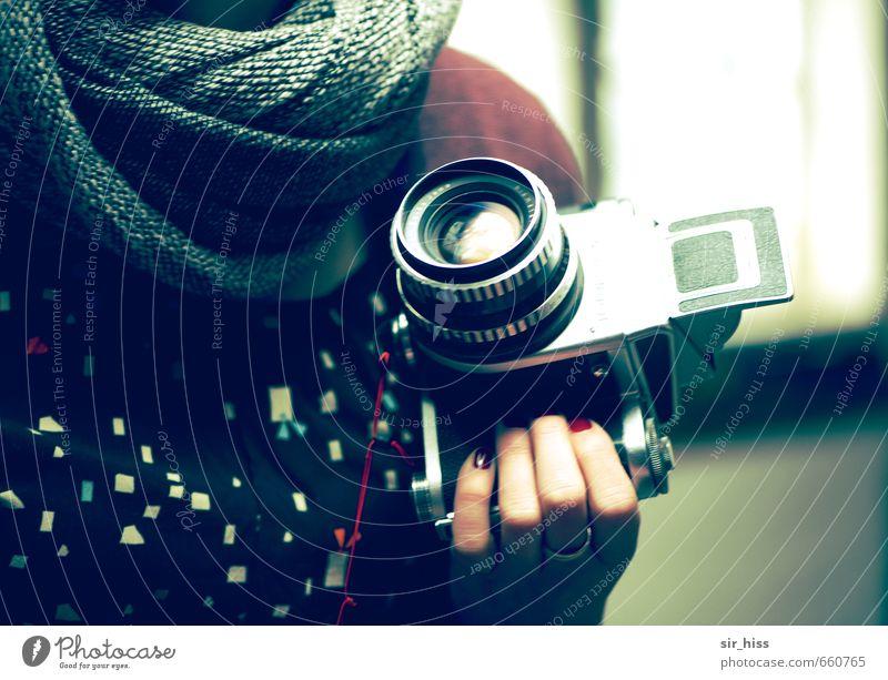 STUDIO TOUR | Analog Girl Camera Feminine Hand Fingers Cloth Scarf Select Utilize Observe Rotate Discover Blue Gray Green Black Creativity Nostalgia Past