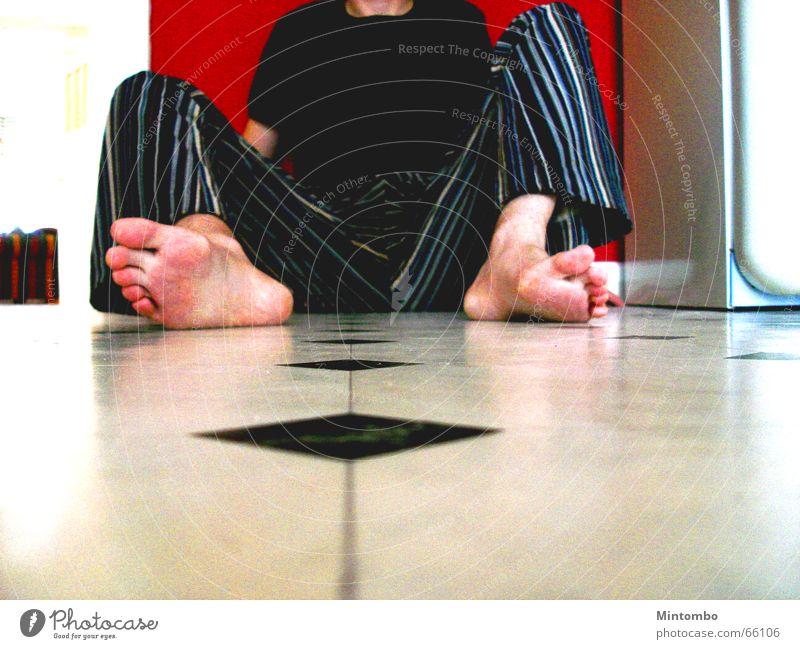 Red Wall (building) Wall (barrier) Feet Legs Kitchen Floor covering Pants Under Hallway Dance floor