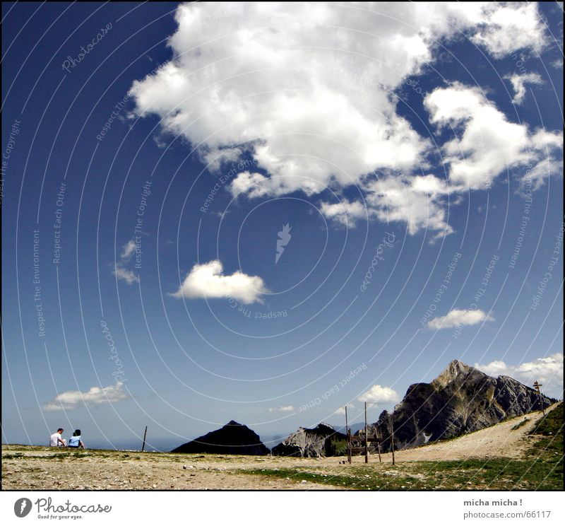 White Blue Calm Clouds Relaxation Mountain Couple Hiking Tall Break Level Leisure and hobbies Peak