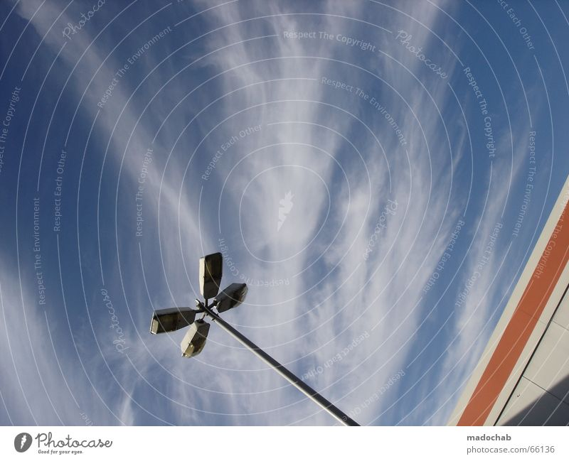 Sky Blue Summer Clouds House (Residential Structure) Window Wall (building) Life Style Building Wall (barrier) Freedom Flying Lamp Above Work and employment