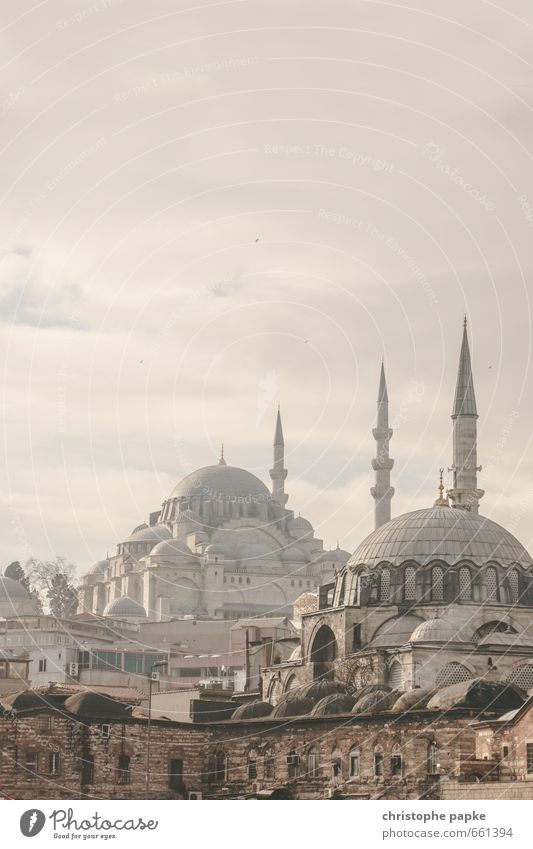 Mosques in Istanbul, Turkey turkey Tourism Far-off places Manmade structures Sightseeing City trip Islam Clouds Vacation & Travel Fog Europe Town Blue Mosque