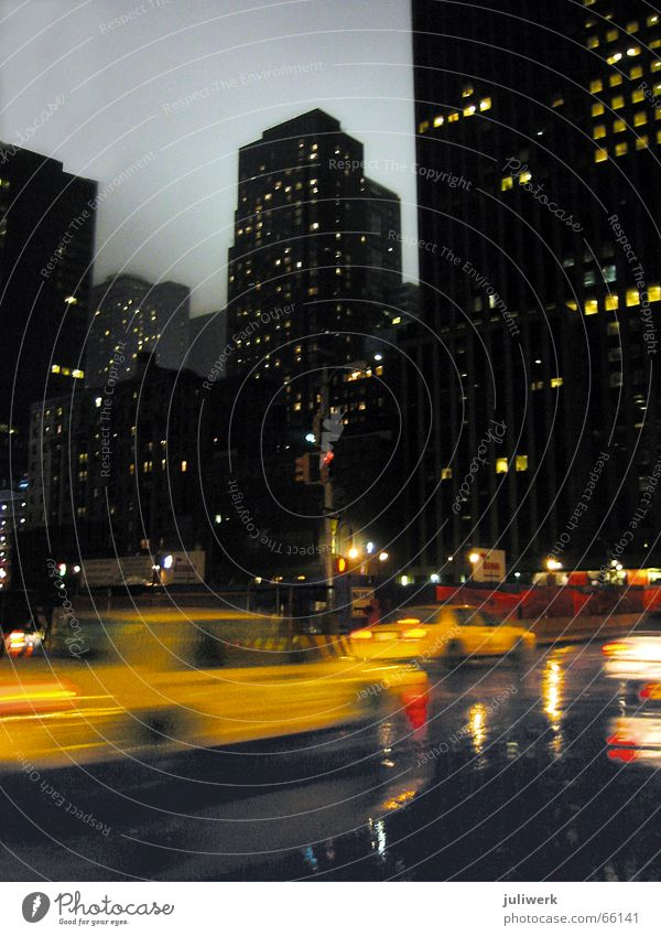 City Yellow Rain Wet High-rise Speed USA Night sky New York City Dusk Floodlight Manhattan Taxi