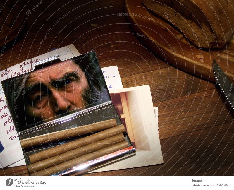 consideration Cigar Wooden table Brunch Senior citizen Letter (Mail) Photography Grief Wooden board Memory cigarillos Male senior
