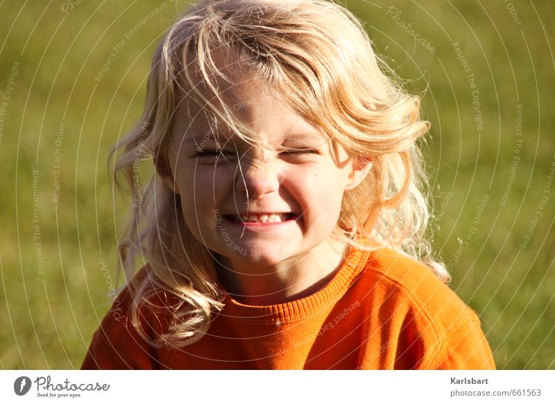 Human being Child Nature Vacation & Travel Summer Girl Joy Emotions Meadow Movement Spring Hair and hairstyles Healthy Head Blonde Infancy