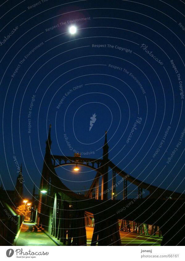 City Blue Dark Bridge Lantern Moon Ulm Dark background